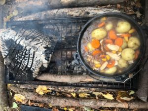Camp fire stew at Castle Lane Forest School