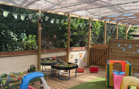 Toddler covered outdoor area